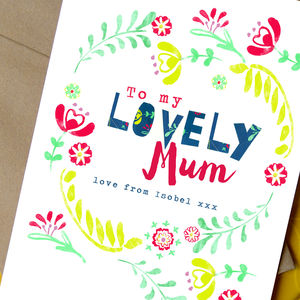 Personalised 'Lovely Mum' Card