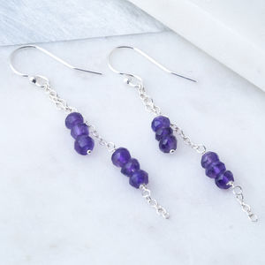 Amethyst Silver Chain Earrings February Birthstone - earrings