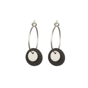 Porcelain Silver And Grey Double Disc Earrings
