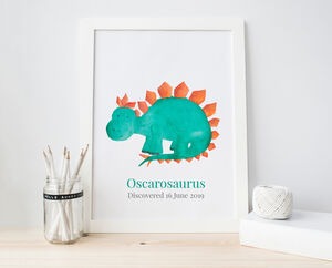 Personalised Dinosaur Nursery Art Print