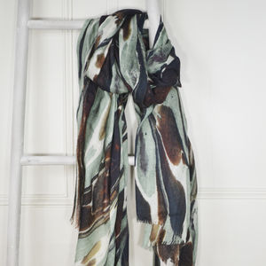 Lichen Brown Green Marble Print Wool Silk Scarf