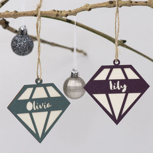 Geometric Diamond Christmas Decoration - personalised
