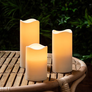 Set Of Three Outdoor Battery LED Candles - lights & lanterns