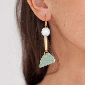 Textured Clay And Brass Half Moon Earrings