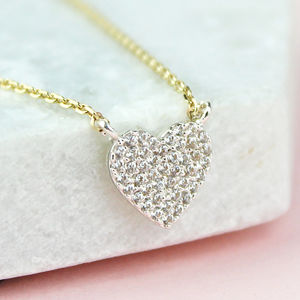 Mini Diamante Heart Necklace - winter sale