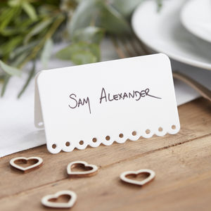 White Scalloped Edge Wedding Place Cards - wedding stationery
