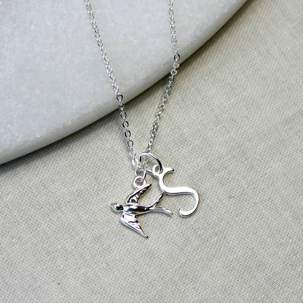 Personalised Silver Swallow Necklace With Initial