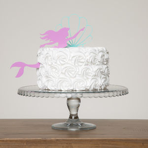 Mermaid And Oyster Shell Birthday Girl Cake Decoration
