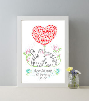 Personalised Mrs And Mrs Love Cats Print