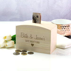 Date Night Fund Wooden Money Box