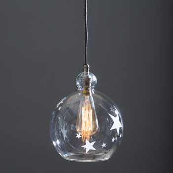 Clear Glass Globe Betty Pendant Light Etched With Stars