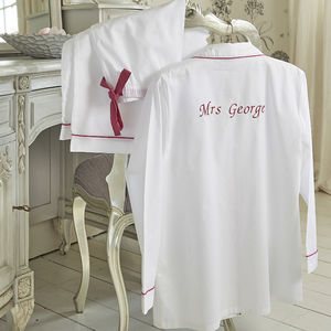 Personalised Women's White And Pink Cotton Pyjama's - wedding fashion