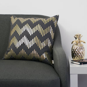 Metallic Zig Zag Square Cotton Cushion