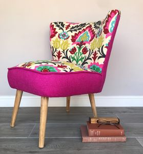 Cocktail Chair In Vibrant Fabric With Pink Harris Tweed