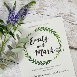 Painted Wreath Wedding Invitations - wedding stationery