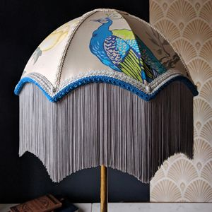 Silk Peacock Scallop Lampshade - dining room