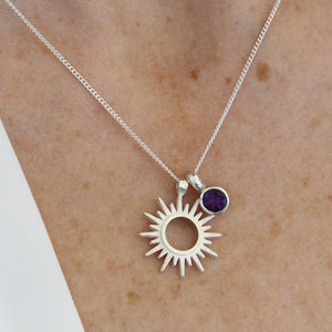 Personalised Birthstone Sun Charm Necklace