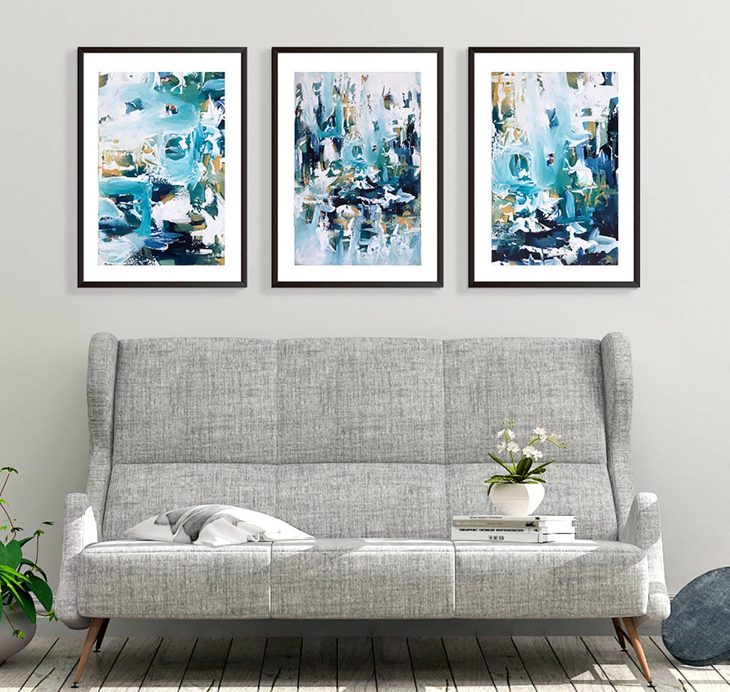 large abstract set of three prints framed wall art by ...