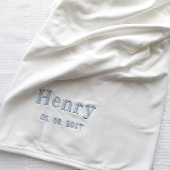 Personalised White Cotton Baby Blanket
