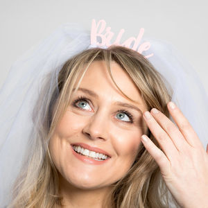 'Bride' With Wedding Veil Headband - fancy dress