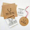 Merry Christmas Text Stag Clear Rubber Stamp