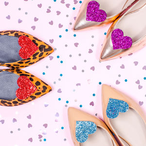 Glitter Heart Shoe Clips