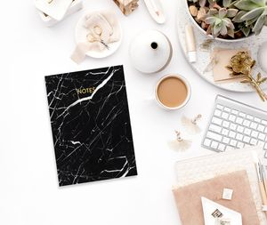 Black Marble Gold Foil A6 Notebook - writing
