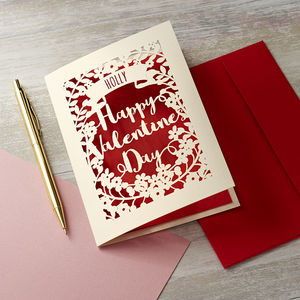 Personalised Papercut Valentine's Card