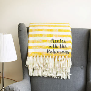 Personalised Yellow Stripe Wool Blanket - children's room