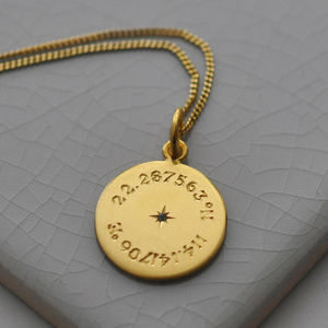 Birthstone Latitude And Longitude Necklace In Gold - personalised jewellery