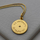 Birthstone Latitude And Longitude Necklace In Gold
