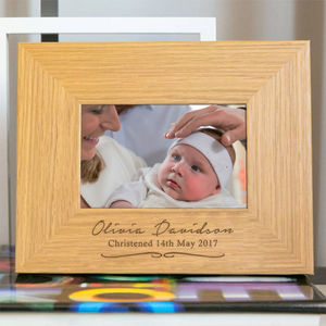 Personalised Christening Girls Engraved Photo Frame