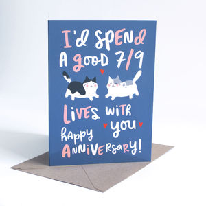 Funny Anniversary Card 'Seven Out Of Nine Lives'