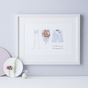 1st Anniversary Bride, Bouquet And Groom Print - shop by occasion