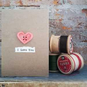 'I Love You' Porcelain Button Card - love & romance cards