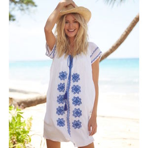 Charlotte Embroidered Cotton Dress White/Blue