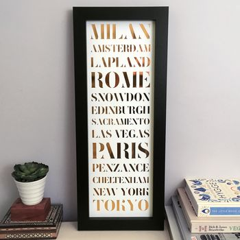 Personalised Framed Metallic Destination Print