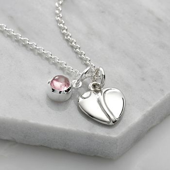 Silver Precious Heart and Birthstone Necklace by Lily Charmed