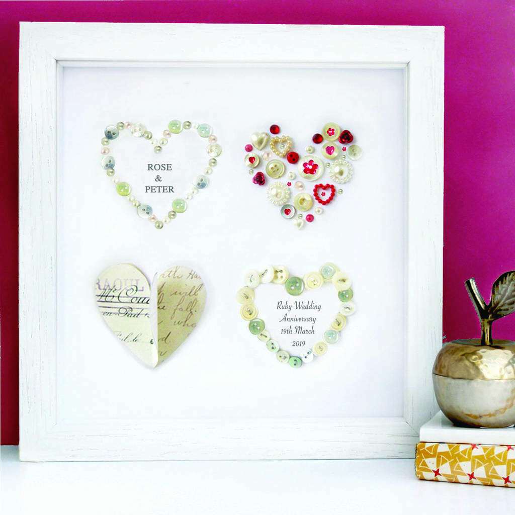 personalised ruby anniversary art gift by sweet dimple ...