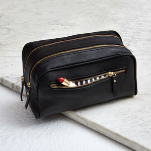 Ladies Leather Wash Bag With Luxe Leather - 30th birthday gifts