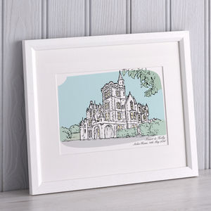 Personalised Wedding Venue Portrait - top 50 personalised art prints