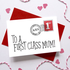 Personalised First Class Mother's Day Card