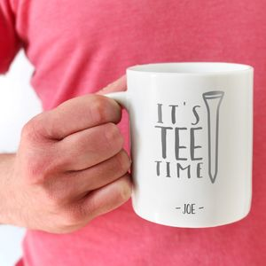 Personalised Golf 'It's Tee Time' Typography Mug