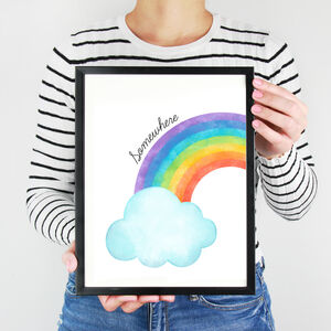 Watercolour Rainbow Wall Art Print For Charity