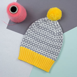 Yellow/Grey Graphic Beanie - hats