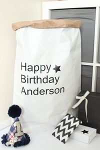 Personalised Birthday Paper Storage Bag - storage