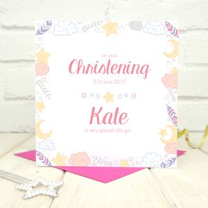 Personalised Girls Christening Card