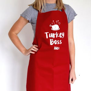 Personalised Turkey Boss Apron - kitchen