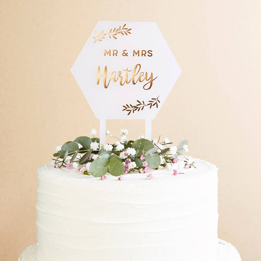 Botanical Geometric Wedding Cake Topper Copper
