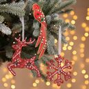 Handmade Set Of Three Luxury Red Tree Decorations